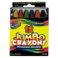 48 Units of Jumbo Crayons - 12 pk - Hang Bag - Asst. Cls. - CHALK,CHALKBOARDS,CRAYONS