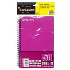 48 Units of Mini Wire Homework Notebook - 5 x 3 - 50 sheets NR - 4pk hang bag - Notebooks