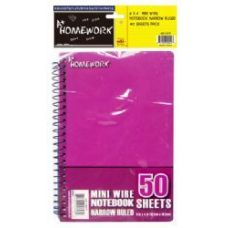 48 Units of Mini Wire Homework Notebook- 6 X 4- 50 sheets NR - 3pk hang bag - Notebooks