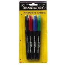 48 Units of Permanent Markers - 4 pk - Fine Point - Asst. Colors - Markers and Highlighters