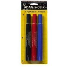 48 Units of Permanent Markers Large - 3 pk - Black,Blue,Red -Inks - Markers and Highlighters