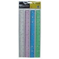 96 Units of Plastic Ruler - 12 inch - 4 pk - Asst. Colors- Carded - Rulers
