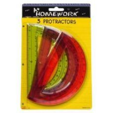 48 Units of Protractor - 6- 3 pack - Assorted Plastic Cls - Rulers