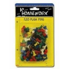 48 Units of Push Pins - 120ct.- Asst.Cls. - Carded - Push Pins and Tacks