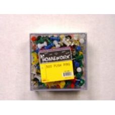 48 Units of Push Pins - 300ct.- Asst. Cls - Plastic Boxed - Push Pins and Tacks
