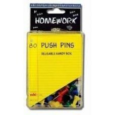 48 Units of Push Pins - 80ct.- Asst.Colors - Plastic Boxed - Push Pins and Tacks
