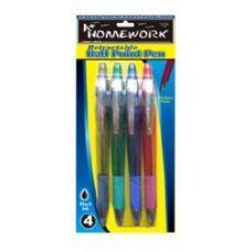 48 Units of Retractable Ball Point Pens - 4 pk - Black Ink - Pens