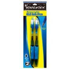 48 Units of Retractable Gel Pens - 2 pk - Black Ink - Pens