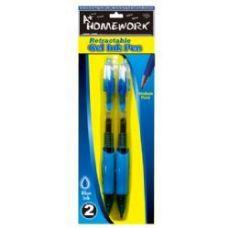 48 Units of Retractable Gel Pens - 2 pk - Blue Ink - Pens