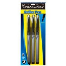 48 Units of Roller Pens - 3 pk - Black Ink - Pens