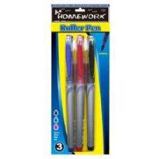 48 Units of Roller Pens - 3 pk - Black,Blue,Red Ink - Pens