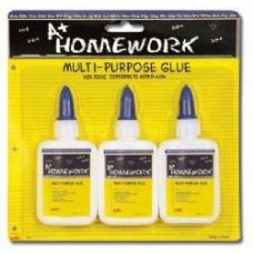 48 Units of School Glue - White - Washable - 3 pack - 1.25 oz each - Glue Office and School