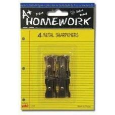 96 Units of Sharpeners - Pencil - 4 pack - All Metal - 1 hole ea. - Sharpeners