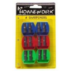 48 Units of Sharpeners - Pencil - 6 pk.- Duel Blade - Asst. Cls. - Sharpeners