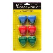 48 Units of Sharpeners - Pencil - 6 pk.- Heart Design - Asst. Cls. - Sharpeners