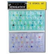 48 Units of 2 Pack Alphabet and Numbers Stencils - Craft Tools