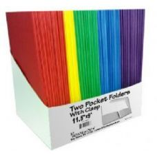 100 Units of TWO POCKET FOLDERS - W/3 FASTENERS -ASST CLS PDQ - BULK - Folders and Report Covers