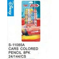 144 Units of Cars Colored Pencils 8 Pk - Licensed School Supplies