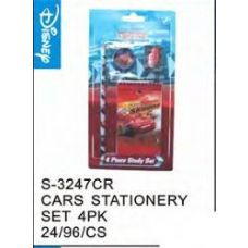 96 Units of Cars Stationery 4pc Set - Licensed School Supplies