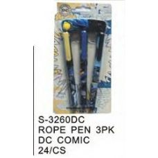 96 Units of DC Comics Pens On a Rope 3 Pack - Licensed School Supplies