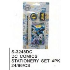 144 Units of DC Comics Stationery 4pc Set - Licensed School Supplies