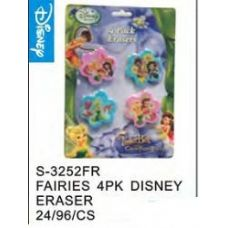 96 Units of Fairies 4pack Eraser - Licensed School Supplies
