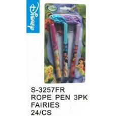 96 Units of Fairies Pens On a Rope 3 Pack - Licensed School Supplies