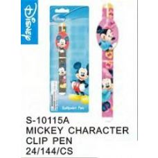 144 Units of Mickey Clip Pen - Licensed School Supplies