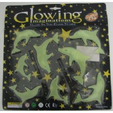 72 Units of . Glow in the Dark Dolphins-Clear - Stickers