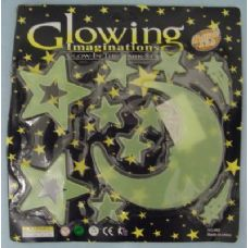 96 Units of Glow in the Dark Moon and Stars-Man in the Moon - Stickers
