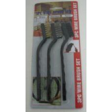 """120 Units of 3pc 7"""" Mini Wire Brush Set-Black Handle - Brushes"""