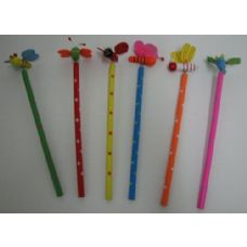 36 Units of Printed Pencil with Assorted 3D Springing Topper - Pencils