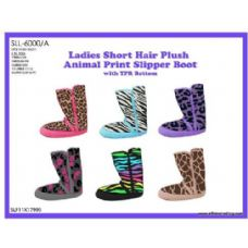 36 Units of Ladies Short Hair Plush Animal Print Slipper Boot With TPR Bottom - Womens Boots