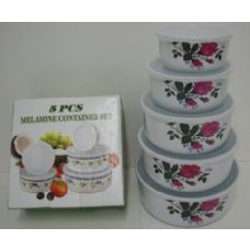 24 Units of 5pc Bowl with Lid Set-Roses - Plastic Bowls and Plates