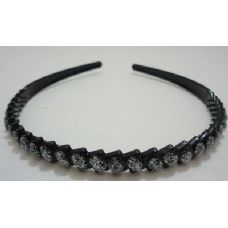 36 Units of Black Plastic Headband with Silver Sparkle - Headbands