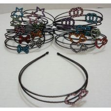 288 Units of Black Plastic Headband--4 Styles Rhinestone Pattern - Headbands