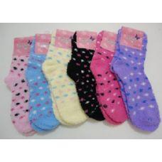 240 Units of Fuzzy Socks 9-11 [Polka Dots] - Womens Fuzzy Socks