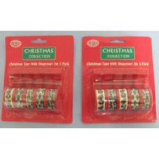 72 Units of 5pc Christmas Tape with Dispenser - Tape