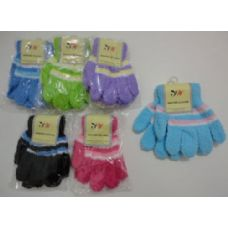 180 Units of Girls 3 Color Chenille Gloves - Knitted Stretch Gloves