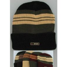 72 Units of Heavy Duty Knit Cap with Multicolor Stripes-Solid Fold