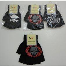 144 Units of Kids Fingerless Gloves--Skull - Knitted Stretch Gloves