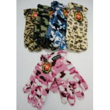 24 Units of Ladies Camo & Animal Print Fleece Gloves