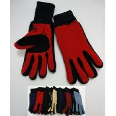 144 Units of Ladies Cuffed Gloves with Suede Palm (Two Tone) - Knitted Stretch Gloves