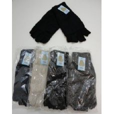 144 Units of Men's Thermal Insulate Fingerless Gloves--Solid Color - Knitted Stretch Gloves