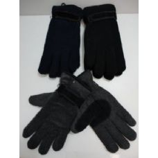 144 Units of Mens Thermal Insulate Gloves w/ Suede Palm-Colors - Knitted Stretch Gloves
