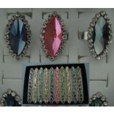 100 Units of Adjustable Ring-Almond Shaped with 20 Stones - Rings