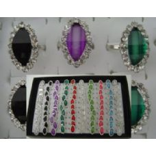 200 Units of Adjustable Ring-Oval Shaped with 18 Stones - Rings