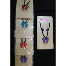 72 Units of Necklace/Earrings Set-4 Petal Flowers & Rhinestones - Necklace