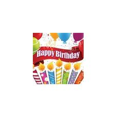 288 Units of Happy Birthday Candles with Balloons Beverage Napkins - 16CT. - Party Paper Goods