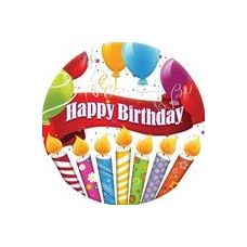 "144 Units of Happy Birthday Candles with Balloons 7"" Plate - 8CT. - Party Paper Goods"